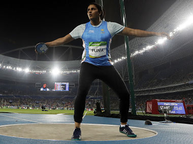 India's Seema Antil makes an attempt in the women's discus qualification. AP