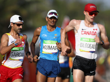 Sandeep Kumar (centre) in action during the 50km racewalk. Getty Images