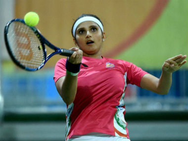 Sania Mirza in action during the women's doubles event in Rio 2016. PTI