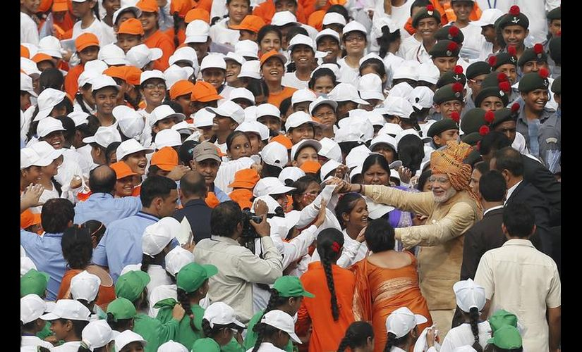 Prime Minister Narendra Modi with school children on Independence Day in 2015. Reuters