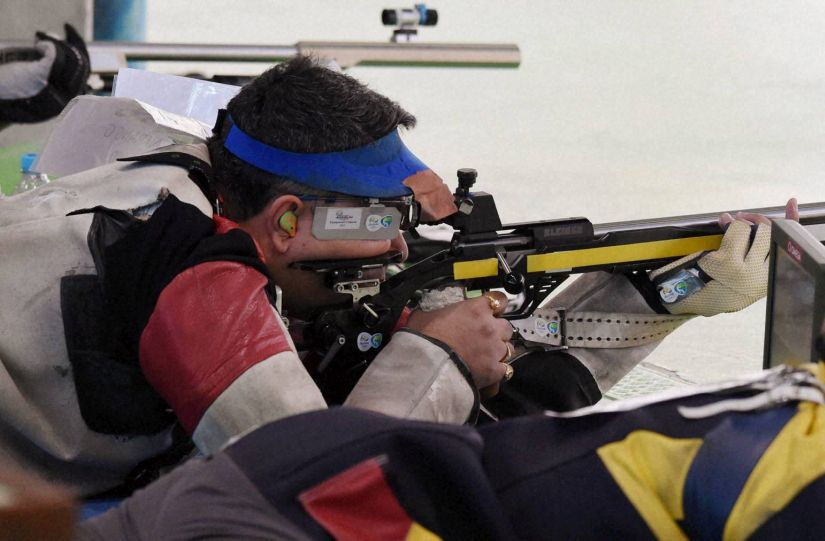 Shooter Gagan Narang participates in Men's 50-metre Rifle prone qualification. PTI