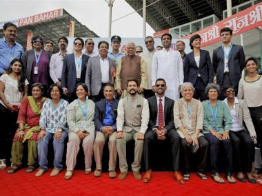 India's former captains pose for a group photo with dignitaries after a felicitation to mark the 500th Test. PTI