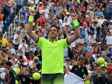 Juan Martin del Potro of Argentina celebrates his win over David Ferrer of Spain. Reuters