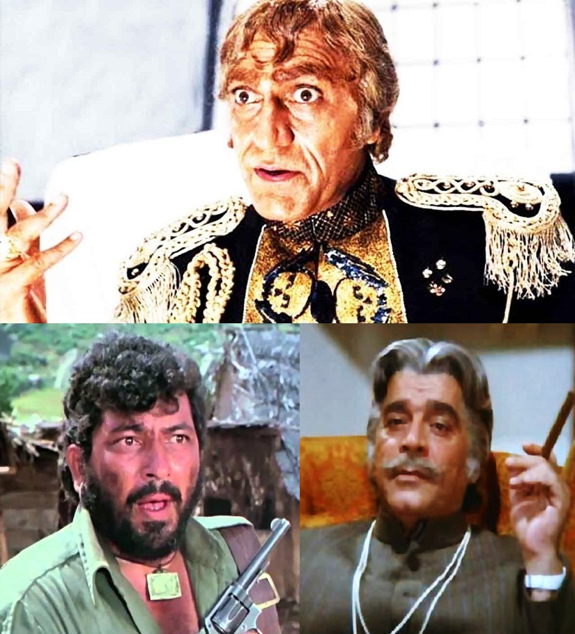 Rogue's Gallery: (clockwise from top) Mogambo; Lion and Gabbar Singh are counted among the iconic villains of Hindi cinema