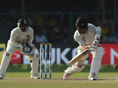 New Zealand's Luke Ronchi plays a defensive shot in the Test match. AFP