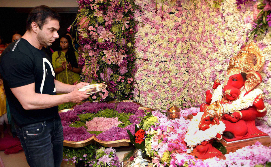 Sohail Khan offers prayers during Ganesh Chaturthi festival in Mumbai. PTI Photo