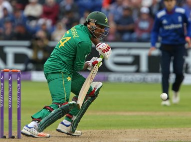 Pakistan's Sarfraz Ahmed plays a shot during the fifth ODI against England. AFP