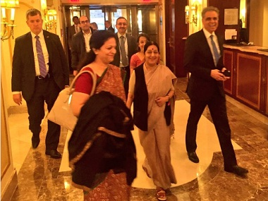 External Affairs Minister Sushma Swaraj arrived in New York on Sunday. Image courtesy: Twitter/MEA