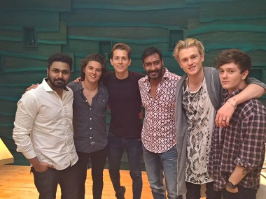 The Vamps, Mithoon and Ajay Devgn. Image Courtesy: Ajay Devgn on Twitter