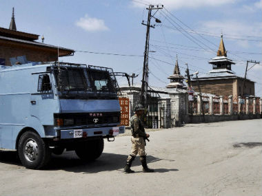 A deserted street in Srinagar during restrictions. PTI