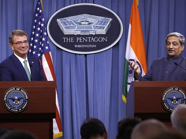US defence secretary Ashton Carter listens as Indian defence minister Manohar Parrikar speaks during their joint news conference at the Pentagon last week. AP