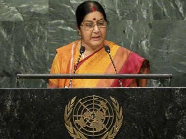 External Affairs Minister Sushma Swaraj addressing the UNGA in New York. PTI