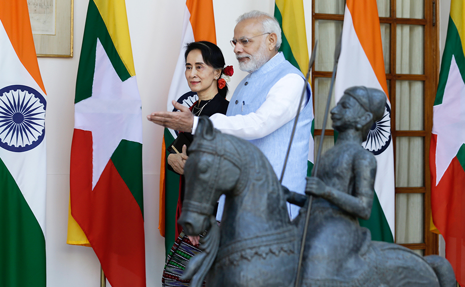 Myanmar Foreign Minister and State Counsellor Aung San Suu Kyi attended the Brics-Bimstec Outreach Summit in Goa during her four-day visit to India. She also held talks with Prime Minister Narendra Modi. Photo: AP