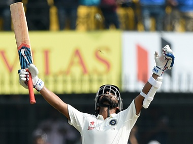 Ajinkya Rahane after reaching his century on Day 2 of the third Test. AFP