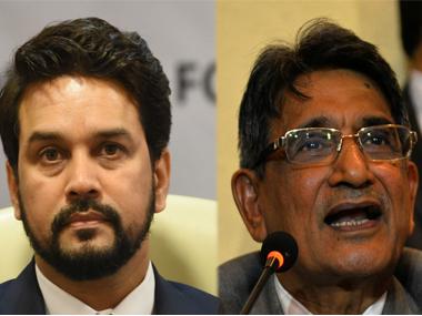 File image of Anurag Thakur and Justice RM Lodha. PTI