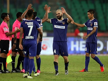 Chennaiyin FC players celebrate their win over FC Goa. ISL