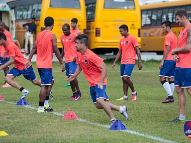 Delhi Dynamos' players train at Kochi ahead of their clash against Kerala Blasters. Twitter/@DelhiDynamos