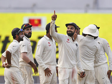 Virat Kohli gestures after India pick up another wicket during day four of the 2nd Test against New Zealand.