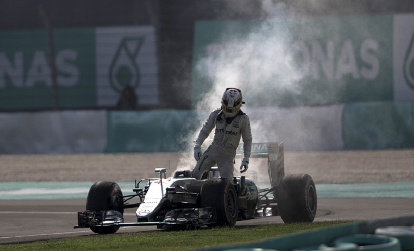 Mercedes driver Lewis Hamilton suffered an engine failure on the 41st lap. AP