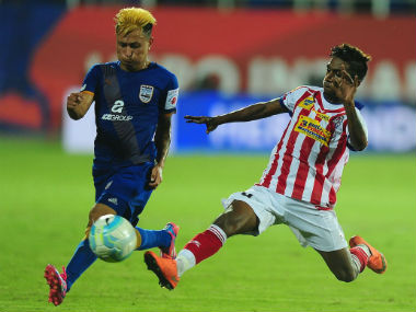 Action in the ISL match between MCFC and ATK on Tuesday. Sportzpics