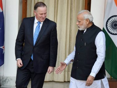 Prime Minister Narendra Modi with his New Zealand counterpart Joh  Key in New Delhi. PTI