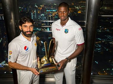 Pakistan's captain Misbah-ul-Haq and West Indies' captain Jason Holder. Image credit: Twitter/ @TheRealPCB