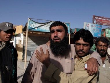 A file photo of relatives waiting to hear about the victims outside the police academy in Quetta. Reuters