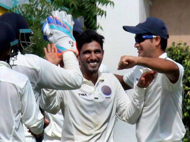 Hyderabad bowler B Sandeep along with his team mates celebrates the wicket of Snehal Kauthankar of Goa during the Ranji Trophy match at VCA stadium in Nagpur on Thursday. PTI