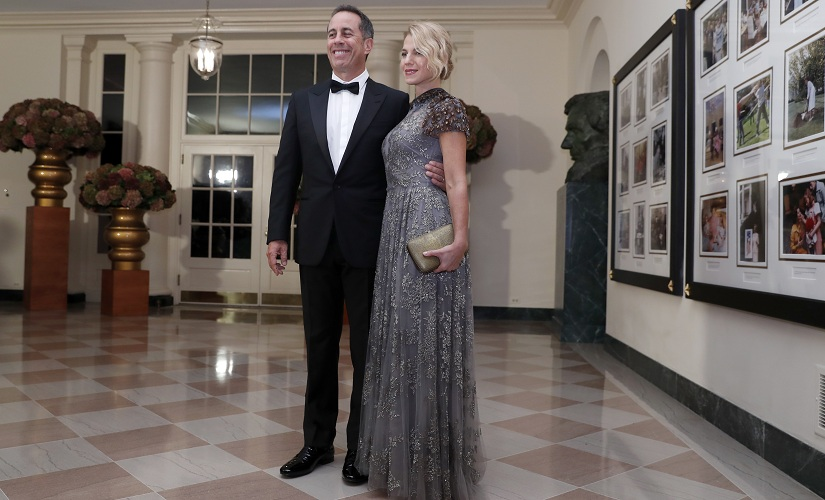 Comedian Jerry Seinfeld and wife Jessica Seinfeld at the state dinner. AP