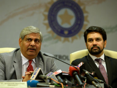 File photo of ICC Chairman Shashank Manohar and BCCI President Anurag Thakur. AFP