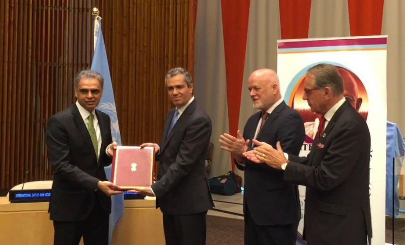 Vikas Swarup while depositing the instrument of ratification on 2 October. Twitter@ MEAIndia