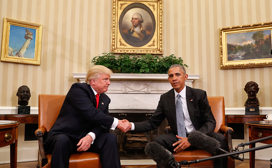 Barack Obama and Donald Trump put acerbic rows and profound differences aside in a 90-minute transition meeting at the White House on Thursday, hoping to quell fears about the health of the world's pre-eminent democracy. AP