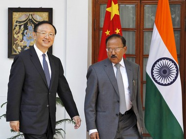China's State Councilor Yang Jiechi (L) and India's National Security Advisor Ajit Doval. Reuters