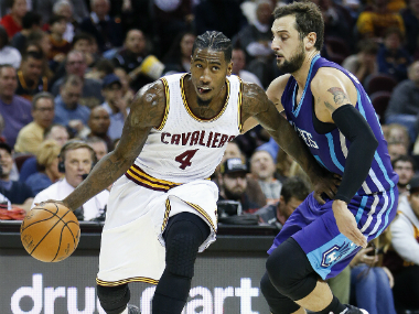 Cleveland Cavaliers' Iman Shumpert (L) during the win against Charlotte. AP