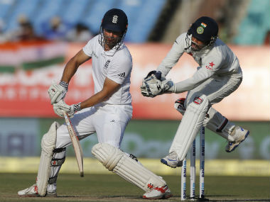England captain Alastair Cook bats on day four of the first Test against India at Rajkot. AP
