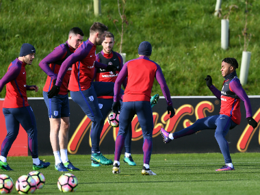 England players in training. AFP