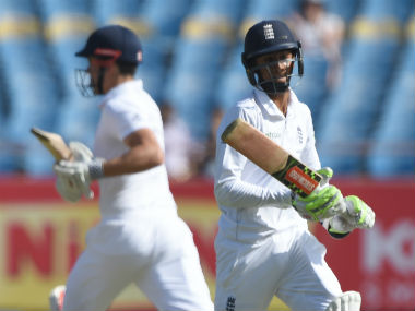 Haseeb Hameed and Alistair Cook's century run stand has put England in a strong position in the Rajkot Test. AFP
