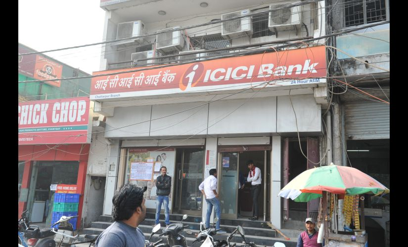 A branch and ATM of ICICI bank in Delhi bear a deserted look due to no cash. Firstpost/Naresh Sharma