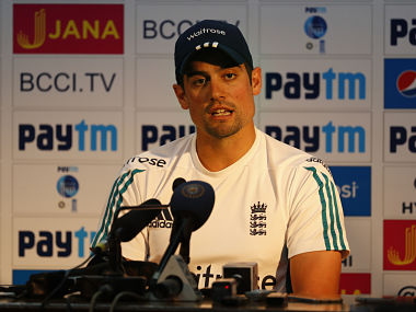 England's cricket team captain Alastair Cook speaks to the media. AP