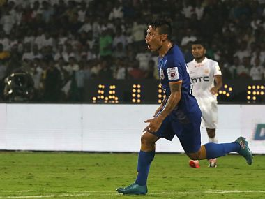 Jackichand Singh of Mumbai City FC celebrates after scoring the opening goal against NorthEast United FC. ISL
