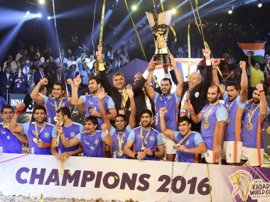 File photo of Indian players celebrating with the winning trophy after beating Iran in the final of the ''Kabaddi World Cup 2016''. PTI