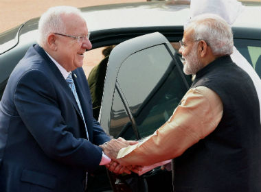Reuven Rivlin with PM Modi. PTI