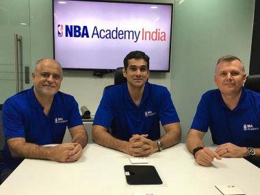 NBA'S Carlos Barroca, Yannick Colaco and Brooks Meek at the media conference. NBA India