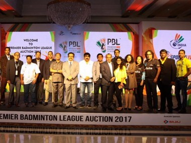 The players auction for the second edition of the Premier Badminton League. Image courtesy: Twitter/@PBLIndiaLive