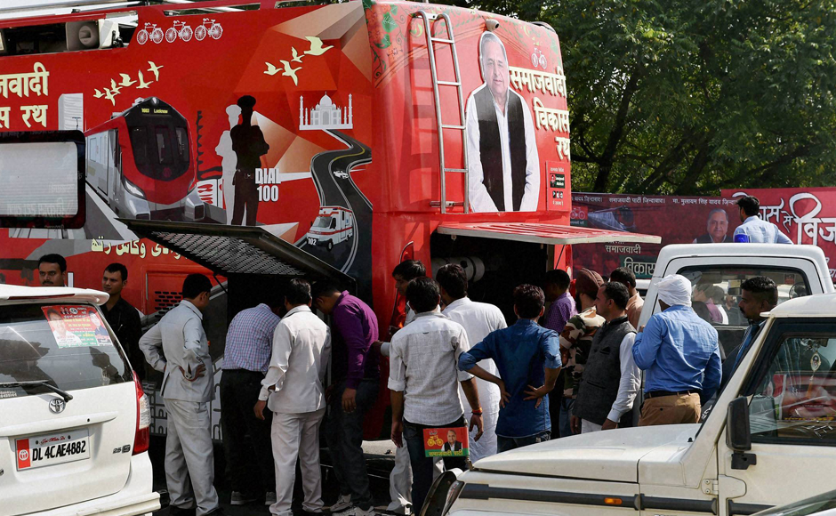 Akhilesh Yadav embarked on the Vikas Rath Yatra atop a modified Mercedes bus inLucknow on Thursday. PTI
