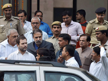 Congress Vice President Rahul Gandhi with party leaders Anand Sharma and Bhupinder Singh Hooda coming out of Mandir Marg Police Station after his release in New Delhi on Wednesday. Gandhi was detained while trying to enter RML Hospital to meet the family of ex-serviceman Subedar Grewal who allegedly committed suicide over Orop issue. PTI