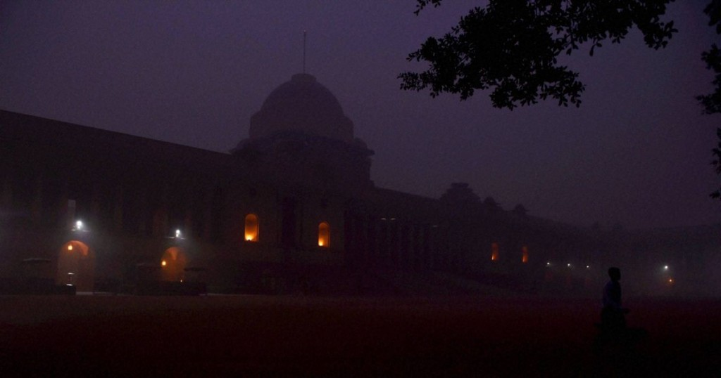 A smoggy view of the forecourt of the Rashtrapati Bhawan in New Delhi on Sunday. PTI