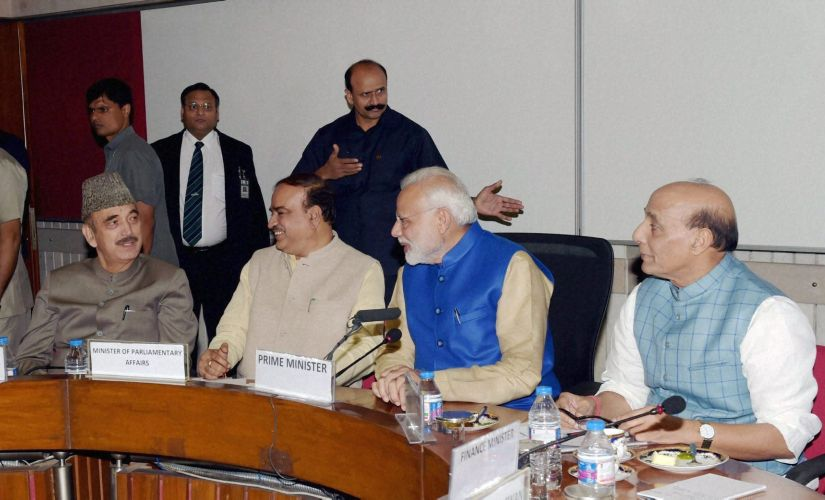 Prime Minister  Narendra Modi chairs  all party meeting with other senior leaders ahead of Winter Session in New Delhi on Tuesday. PTI