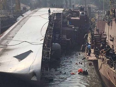The frigate INS Betwa lies on its side. PTI