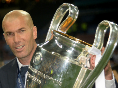 Zinedine Zidane with the Champions League trophy the his Real Madrid side win in 2016. AFP